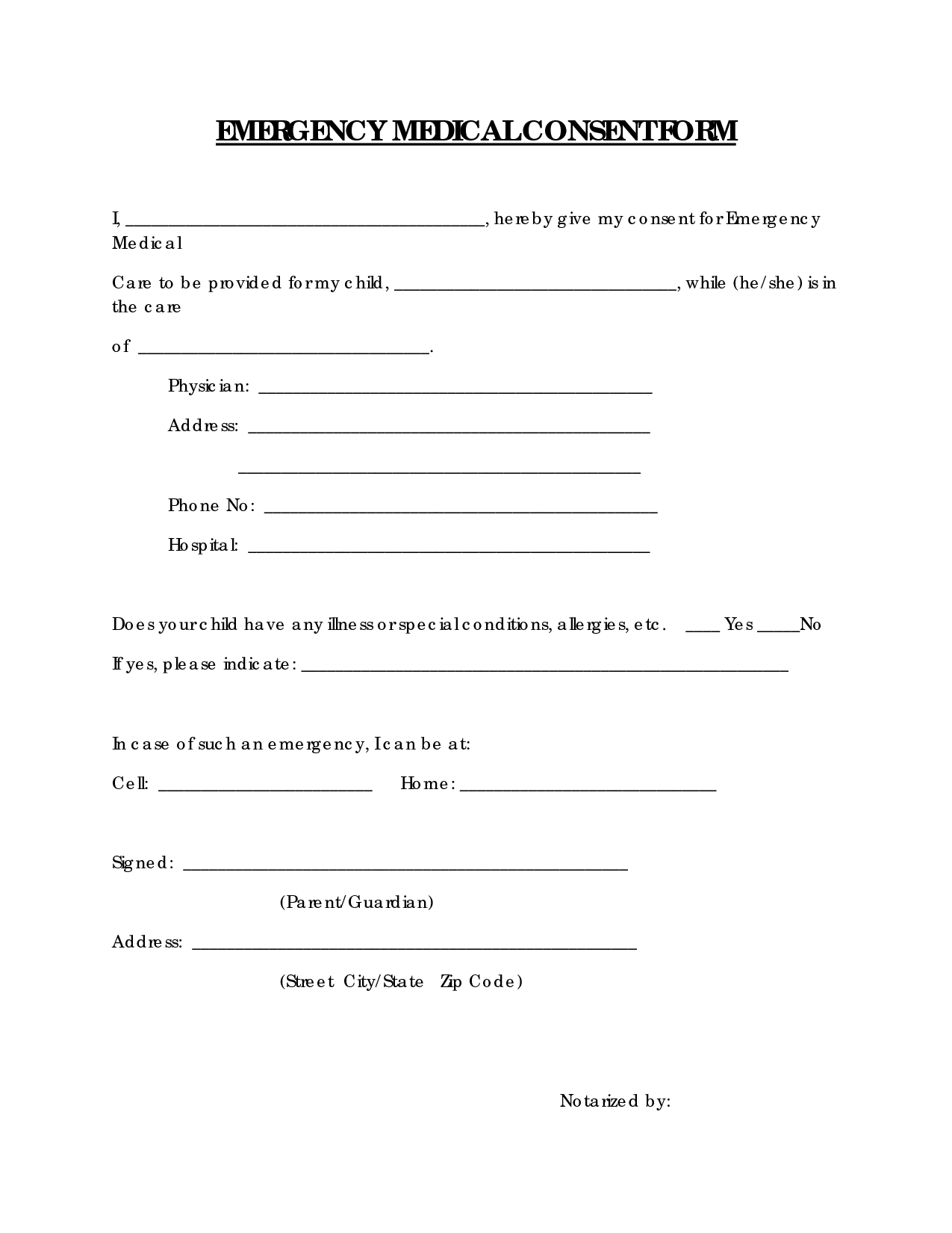 Free Printable Medical Consent Form  Emergency Medical Consent
