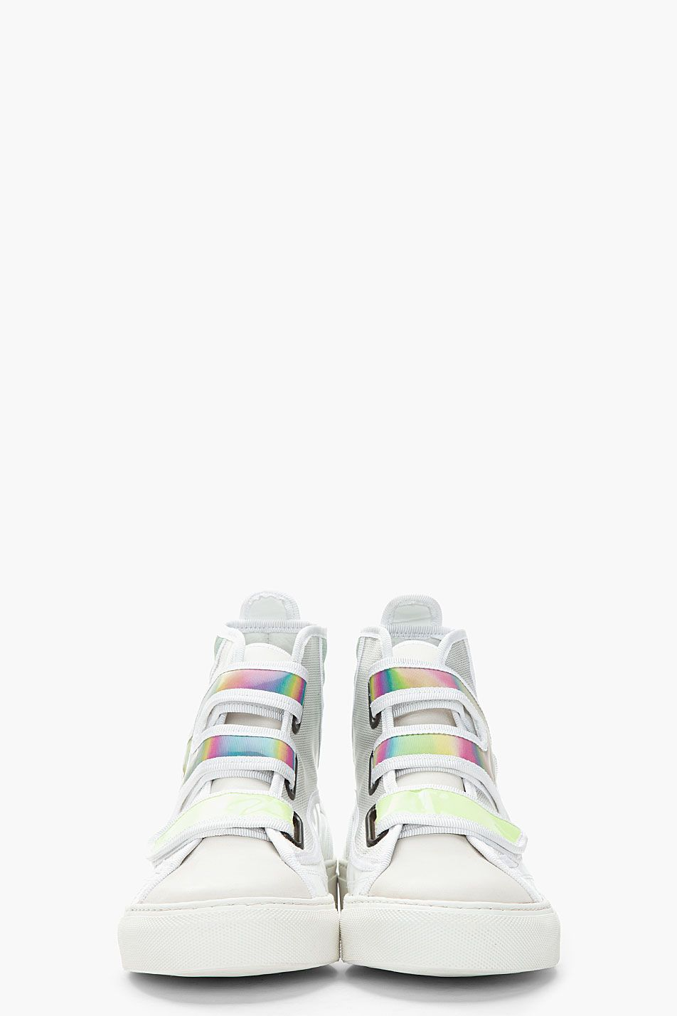 366429367499 RAF SIMONS    WHITE   GREEN HOLOGRAPHIC VELCRO HIGH TOP SNEAKERS ...