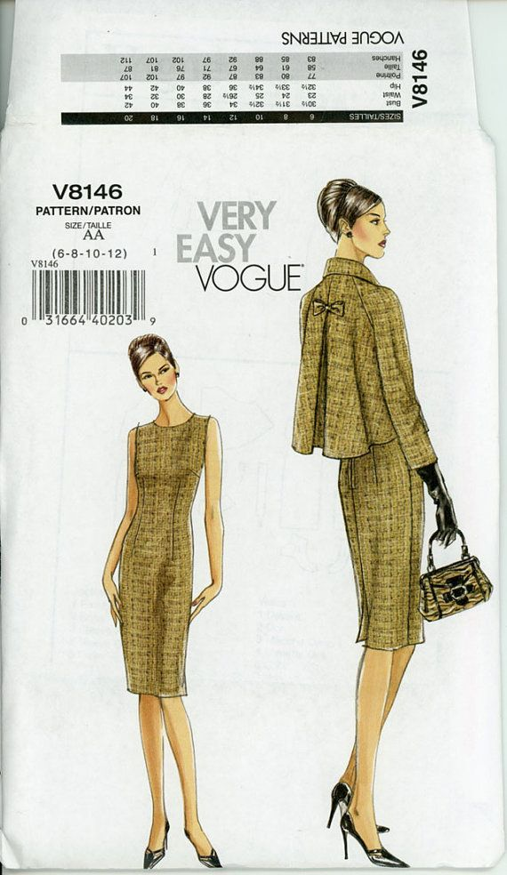 Vogue V8146 Sheath Dress and Jacket Pattern Uncut Vintage Style Day ...