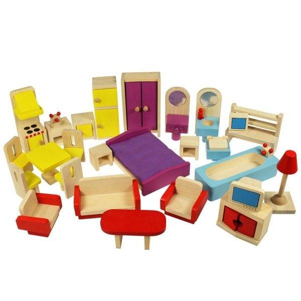 26 delige poppenhuismeubeltjes van BigJigs. Deze aantrekkelijk geprijsde set is ideaal om een poppenhuis wat zonder meubeltjes wordt geleverd aan te kleden.De set bestaat uit een woonkamer, slaapkamer, keuken en badkamer.Leeftijd vanaf 3 jaar.