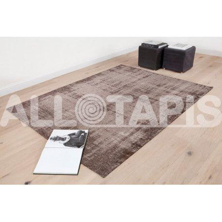 Tapis effet rayé pour salon bleu océan Grunge Tapis en coton
