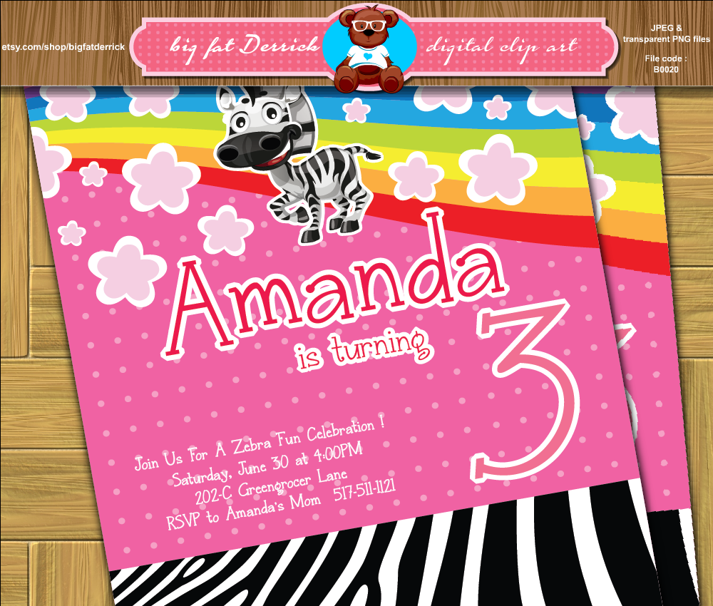 Playful Zebra pink wild life animal rainbow birthday party