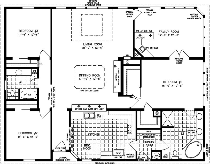 Jacobsen TNR 7521 42 X 52 2080 Sq Ft Triple Wide Almost - Floor Plans 2000 Square Feet