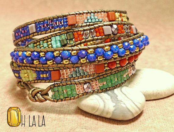 Boho Bracelet Wrap with Crystals and Beads on Bronze Leather