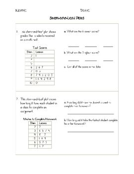 Worksheet Stem And Leaf Plot Worksheets 1000 images about stem and leaf plots on pinterest activities assessment student