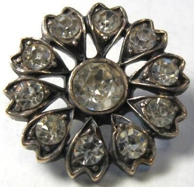 Antique 19c Georgian Heart Petal Flower Blossom Rhinestone Sterling Silver Button