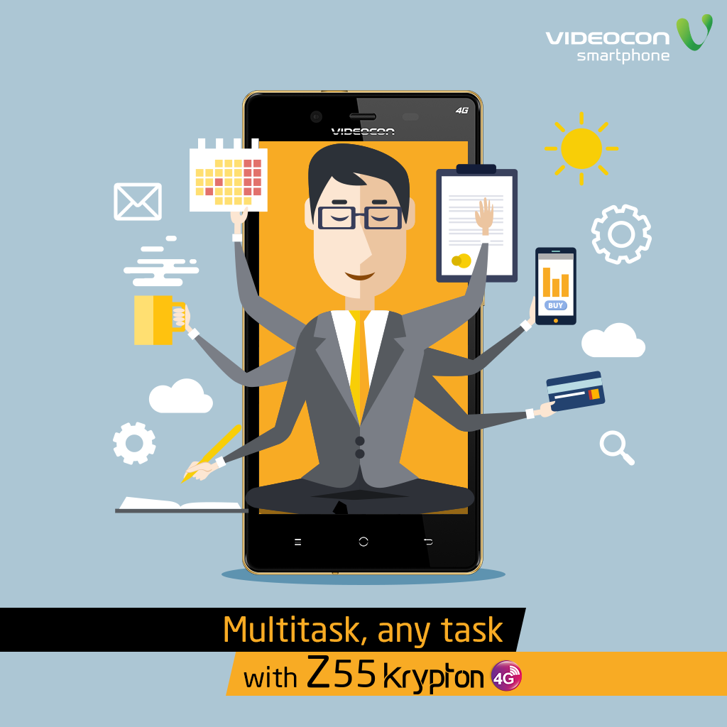 With the #Videocon Z55 Krypton, multitask, any task. Click here to know more - http://www.videoconmobiles.com/z55krypton-bethe4runner
