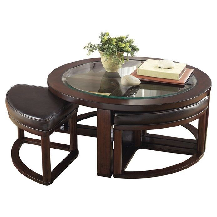 Solid Wood Brown Round Gl Top Coffee Table With Seating