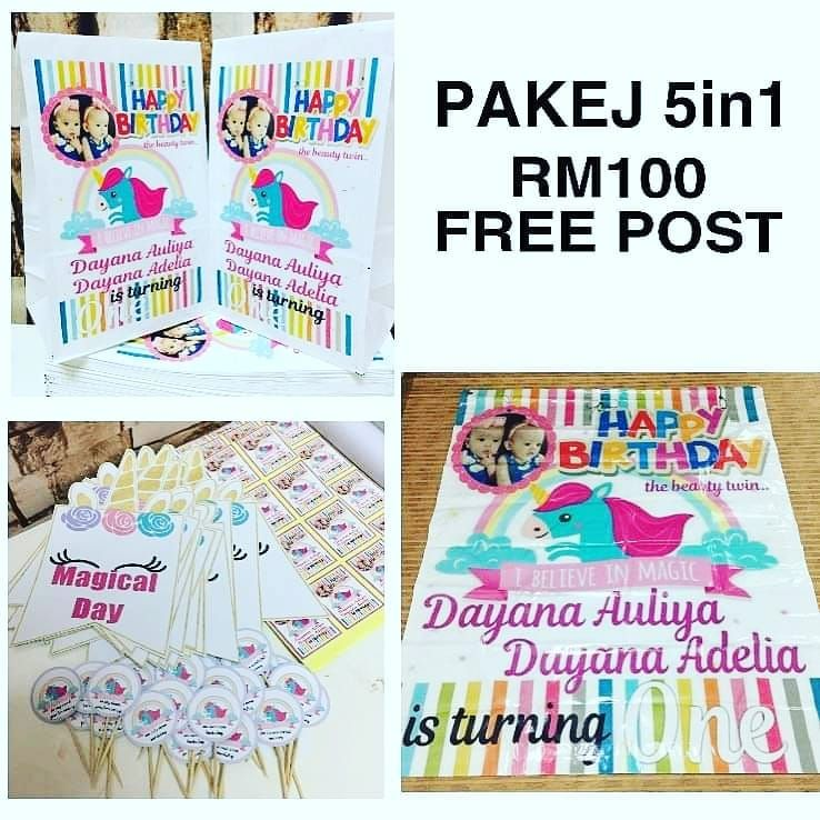 Design & Print  PAKEJ 5IN1  Thank you having us for your special day. 😊  For fast response whatsapp 0162173787.  NO DM NO CALL NO FUSSY  #schalovers #yourprintingservices #printingproducts #paperbagprintedmurah #bannerdesign #backdrop #buntingflag #bunting #kadkahwin #sticker #buttonbadge #prop #happybirthday #wedding #akikah #goodiesbagmurah #goodiesbirthday #goodieswedding #sayajualonline #doorgift #tagging #tag #pakejbirthdayparty #bazarpaknil #sayajualmurah #postageseluruhmsia  #createyouro