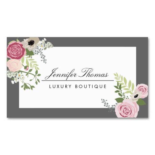 Elegant Vintage Floral Design White Gray Business Card Zazzle Com In 2021 Floral Design Business Vintage Floral Design Floral Design