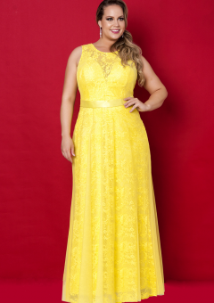 Yellow Lace Round Neckline Floor Length Plus Size Evening Dress Prom Dresses Mother Of The Bride Dres Evening Dresses Plus Size Dresses Evening Dresses Prom