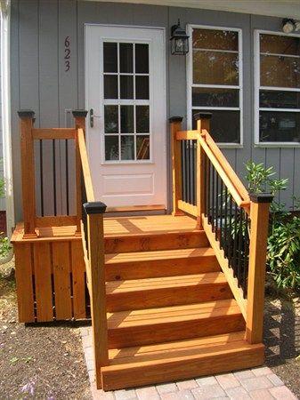New Front Steps Front Porch Steps Mobile Home Porch Porch Steps   Outside Stairs For Mobile Home   Front Door   Wood   Trailer   Fiberglass   Decks
