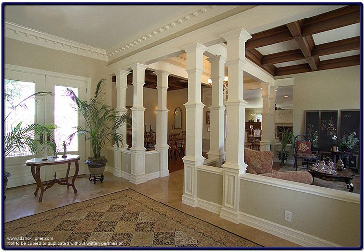Wood pillars enhancing the interior of your home Interior columns design ideas