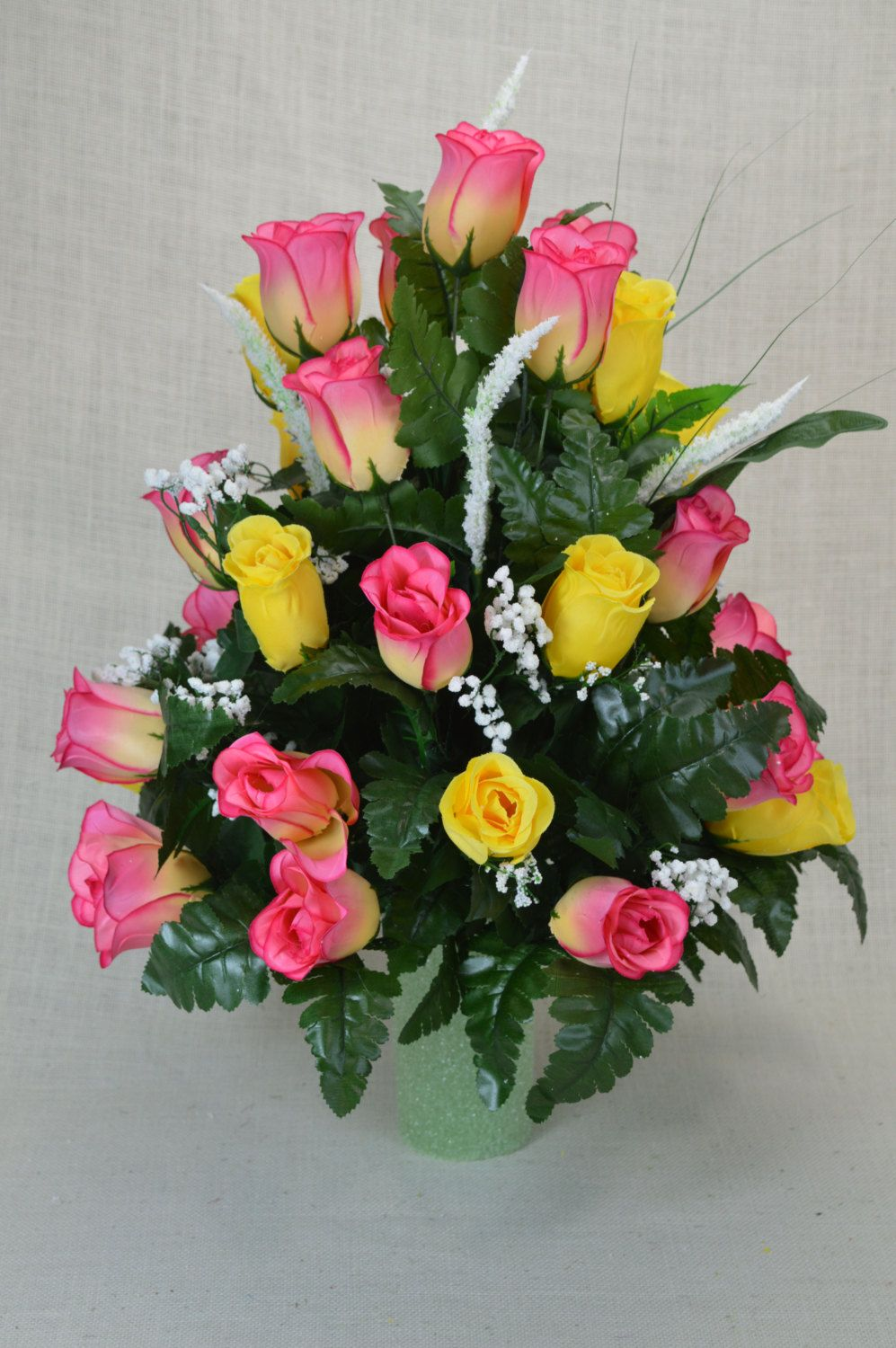 No R101 Yellow And Hot Pink Rose Cemetery Flower Spring Cone Flower Cone Arrangement Grav Cemetery Flowers Artificial Flower Arrangements Funeral Flowers