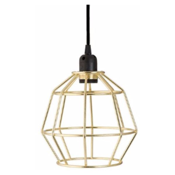 Gold Geometric Cage Pendant Light With Black Fabric Cable 51 Liked On Polyvore