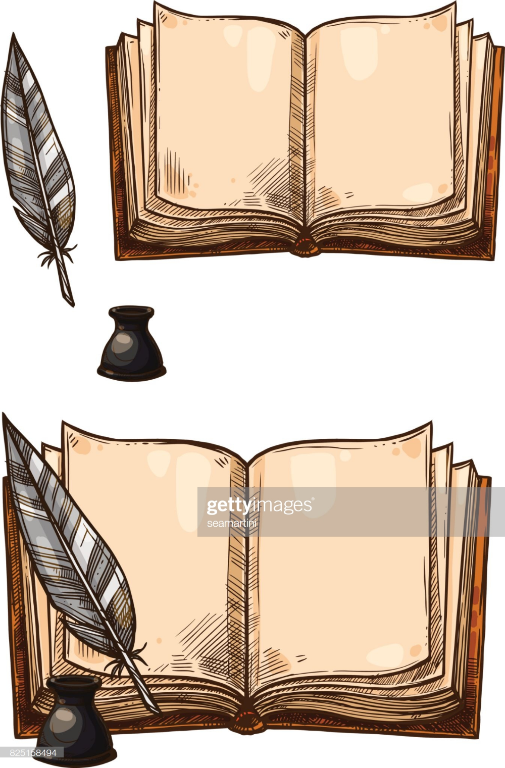 Old Books With Ink Quill Feather Pen And Inkwell Vector Isolated Open Book Drawing Book Drawing Book Tattoo