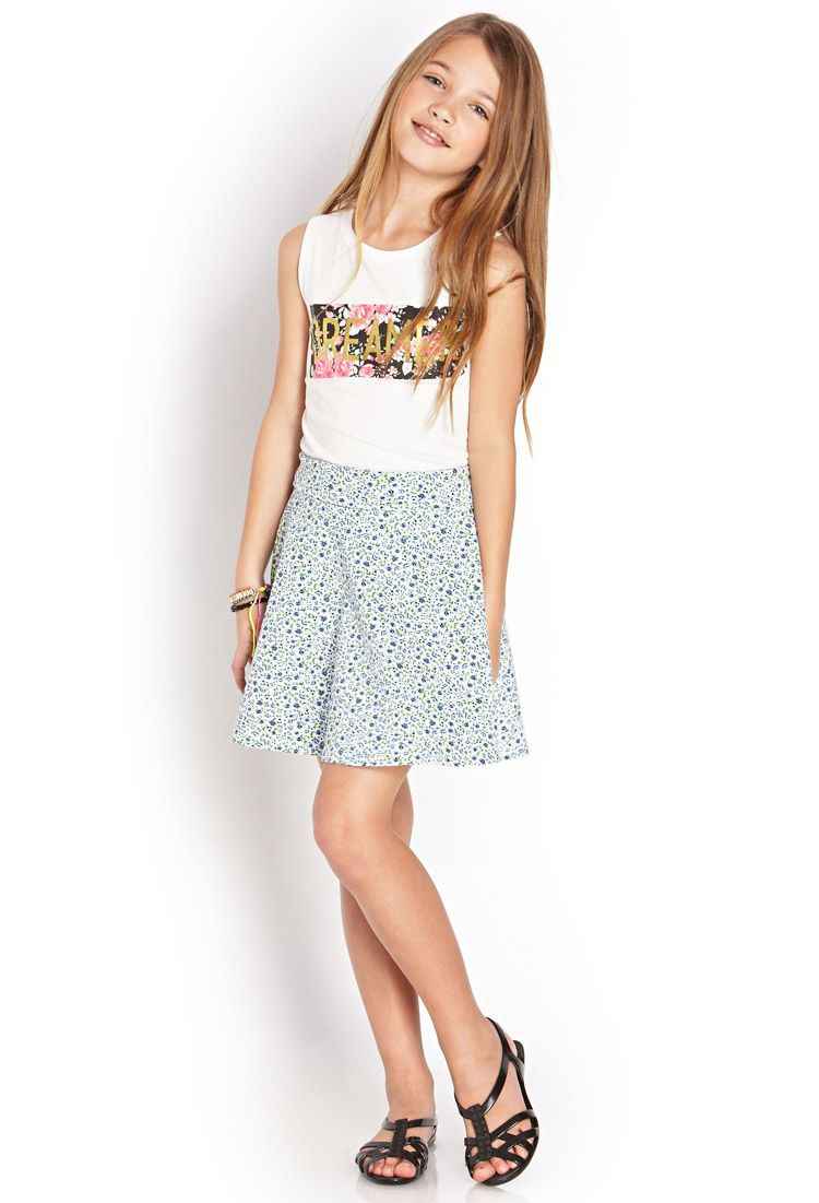 237708fc5cce Feeling Floral Skater Skirt (Kids)  SummerForever  F21Girls