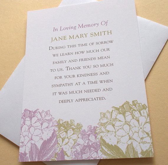 Bereavement Thank You Cards With Purple Or Peach Colored Hydrangeas