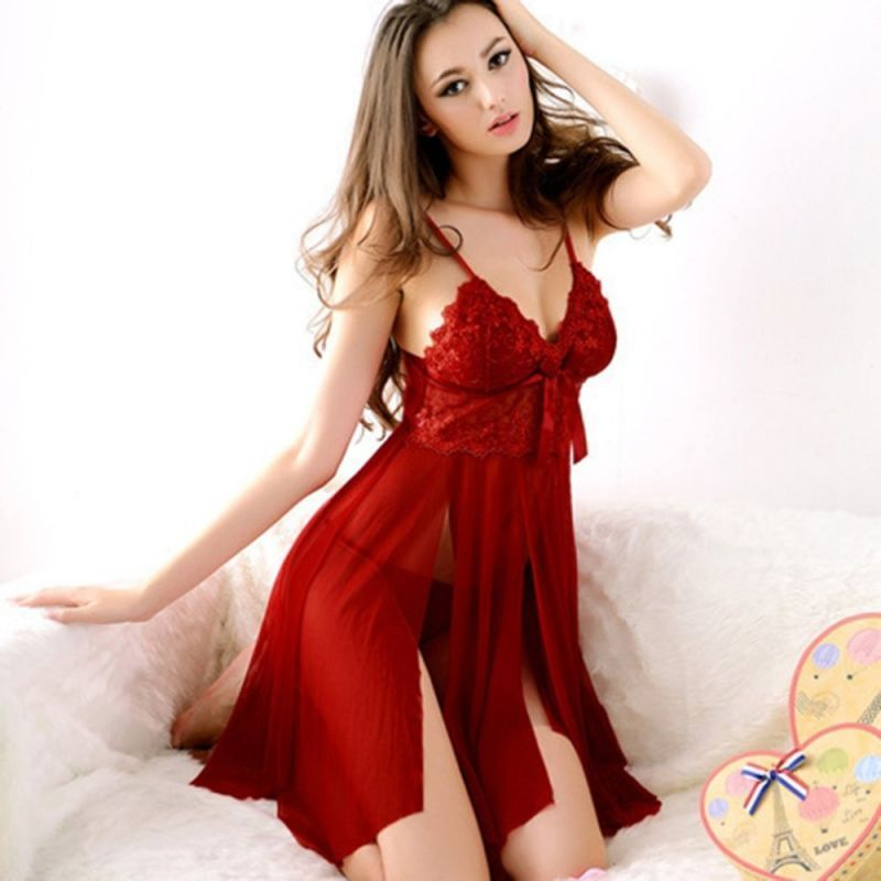 6f0e4d7724 Plug size sexy women lace erotic lingerie dress ladies night party  valentine s day sexy night dress costumes  polyester  sleeveless  solid   above  knee