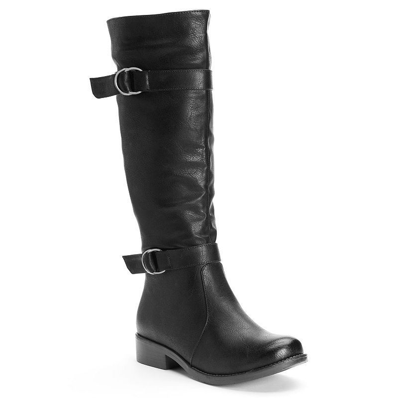 Kisses by 2 Lips Too Too Janet Women's Knee-High Boots, Girl's, Size: medium (6.5), Black