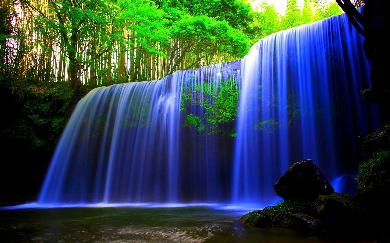 Neon Waterfall Waterfall Wallpaper Moving Wallpapers Live Backgrounds