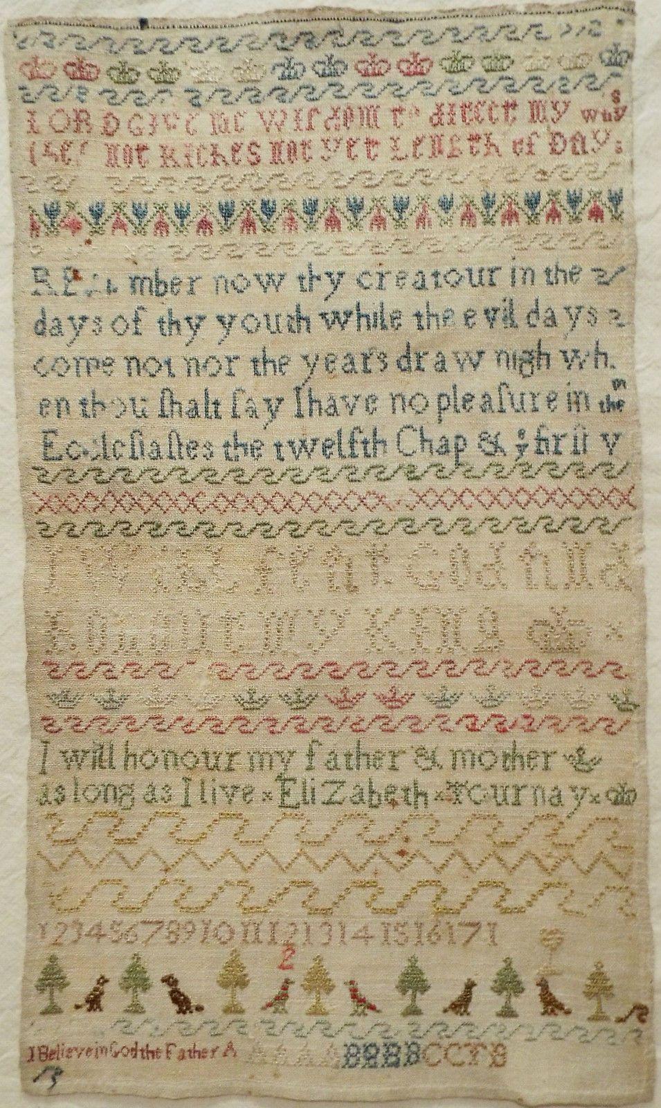 18th Century Silk Work Sampler by Elizabeth Tournay C 1760 1780   eBay
