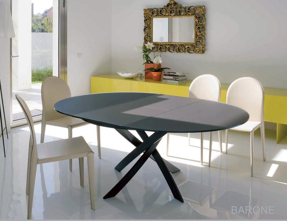 table ronde extensible barone acier et verre d 125 l175 cm design by bontempi casa idees. Black Bedroom Furniture Sets. Home Design Ideas
