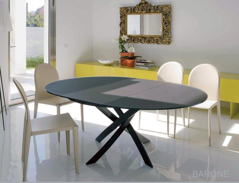 Table ronde extensible BARONE, Acier et Verre, D 125 - L1 75 cm ...