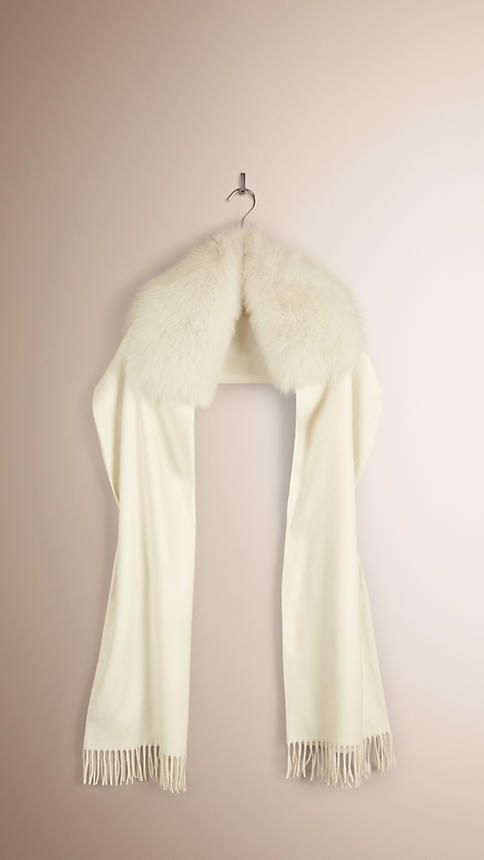 Burberry | Ivory Fur-trimmed Cashmere Scarf | Gorgeous!