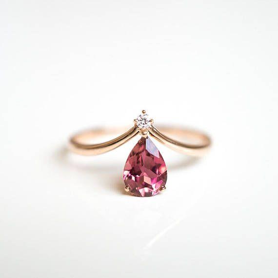 14K 18 k gold V Form Chevron pink Turmalin Verlobungsring Diamant Ring rose gold Weißgold Platin Hochzeit Jahrestag Verlobungsring #aquamarineengagementring