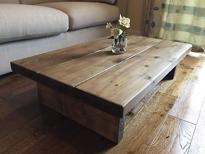 Chunky Rustic Coffee Table Mk1 Oak Stain Solid Wood New Free Uk
