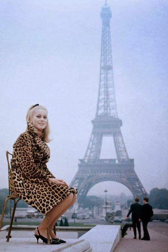 Catherine Deneuve in a leopard coat