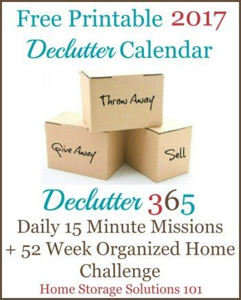 Free printable 2017 Declutter Calendar, with daily 15 minute ...