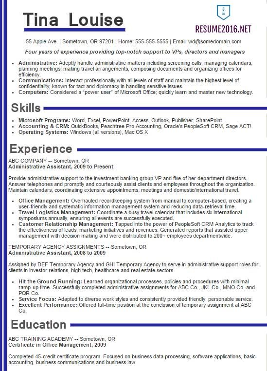 Best Sample Resume 2016 Sample Resumes Sample Resumes - resume templates for administrative positions