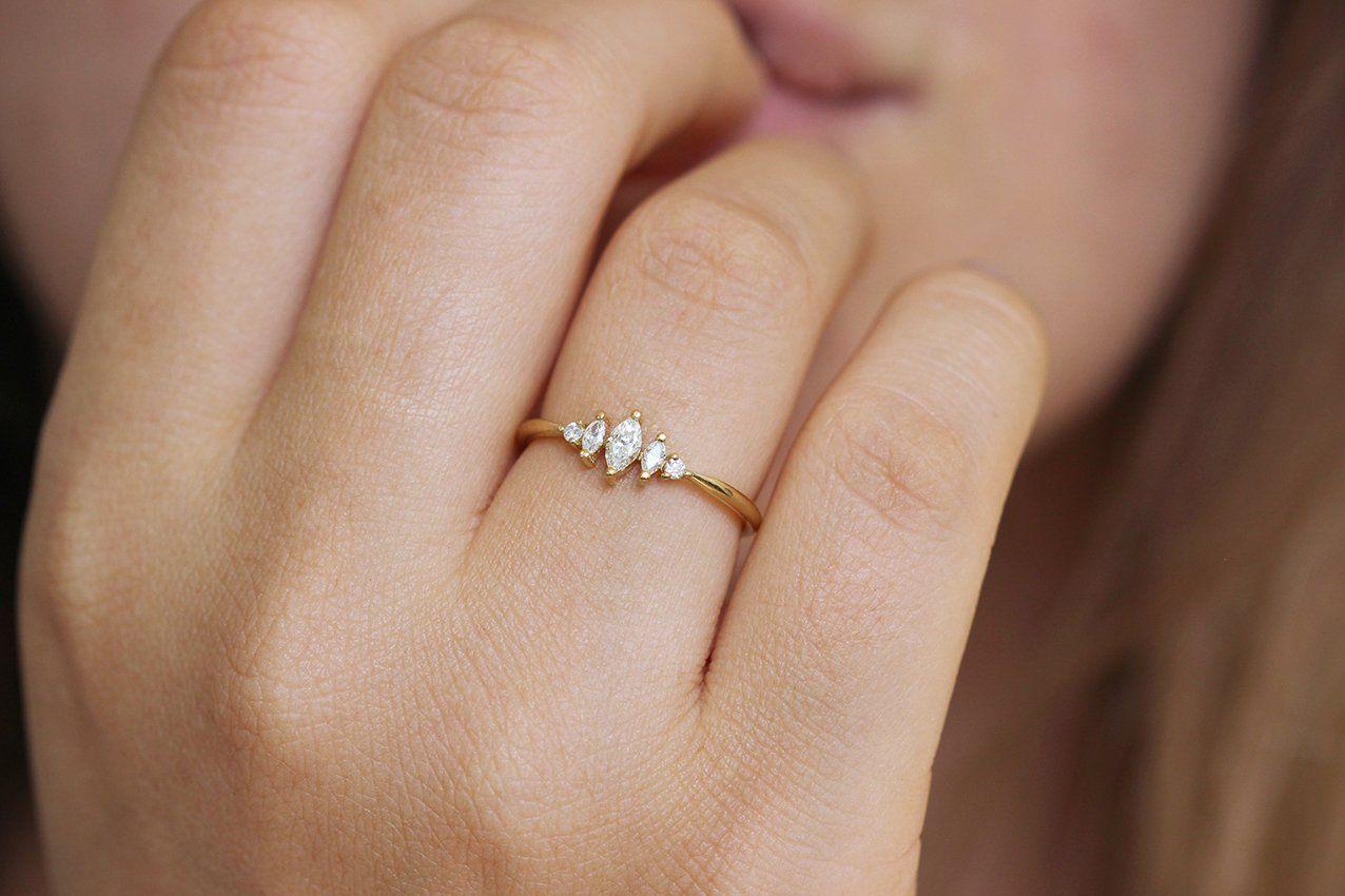 Marquise Diamond Engagement Ring - Art Deco Ring