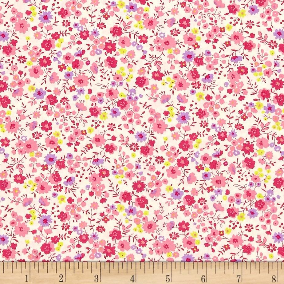 Kaufman Petite Garden Floral Spray Pink from @fabricdotcom  Designed by Sevenberry for Kaufman, this cotton print fabric features vibrant pops of color with summer flowers. Perfect for quilting, apparel and home decor accents. Colors include cream, lavender, neon yellow and shades of pink.