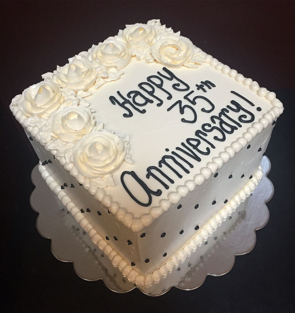 35th Anniversary Cake With Buttercream Roses