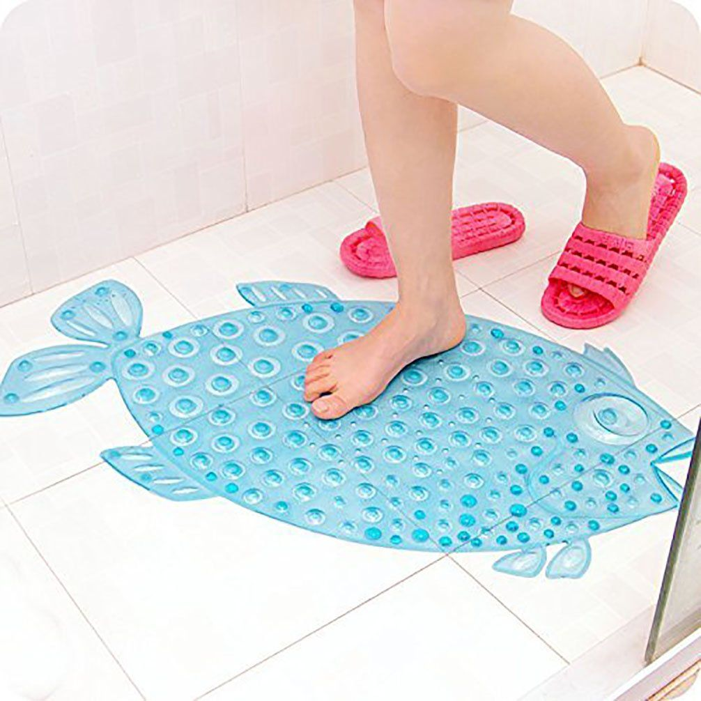 PlayDo Fish Bathroom Shower Non-slip Rug Mat with Sucker for Kids ...