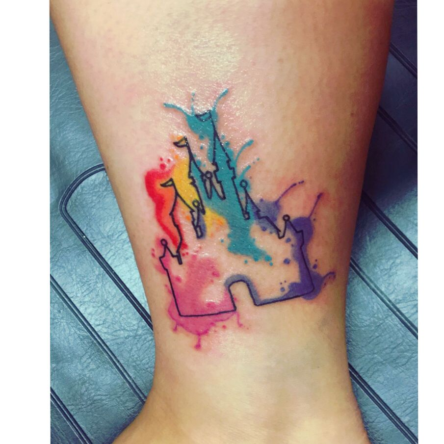 Disney World S Cinderella Castle Tattoo Watercolor Disney