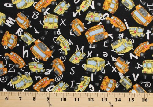 Cotton Random Thoughts Yellow Orange School Buses White Letters Designs Black Cotton Fabric Print by The Yard D764.28
