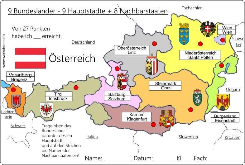 9 Bundeslander Osterreich Austria L Schule Bundesland