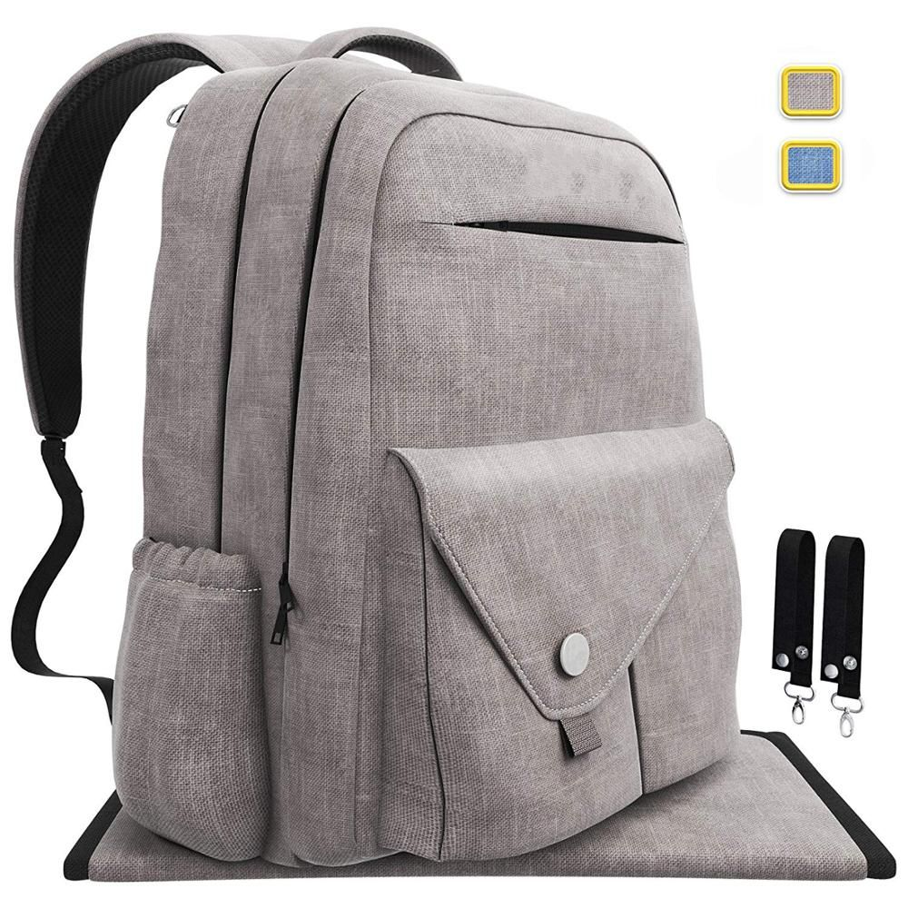 Multi-Function Waterproof Travel Backpack Baby Nappy Bags with Changing Pad for Mom and Dad Durable and Stylish Gray Large Capacity Insulated Pockets Diaper Bag Backpack