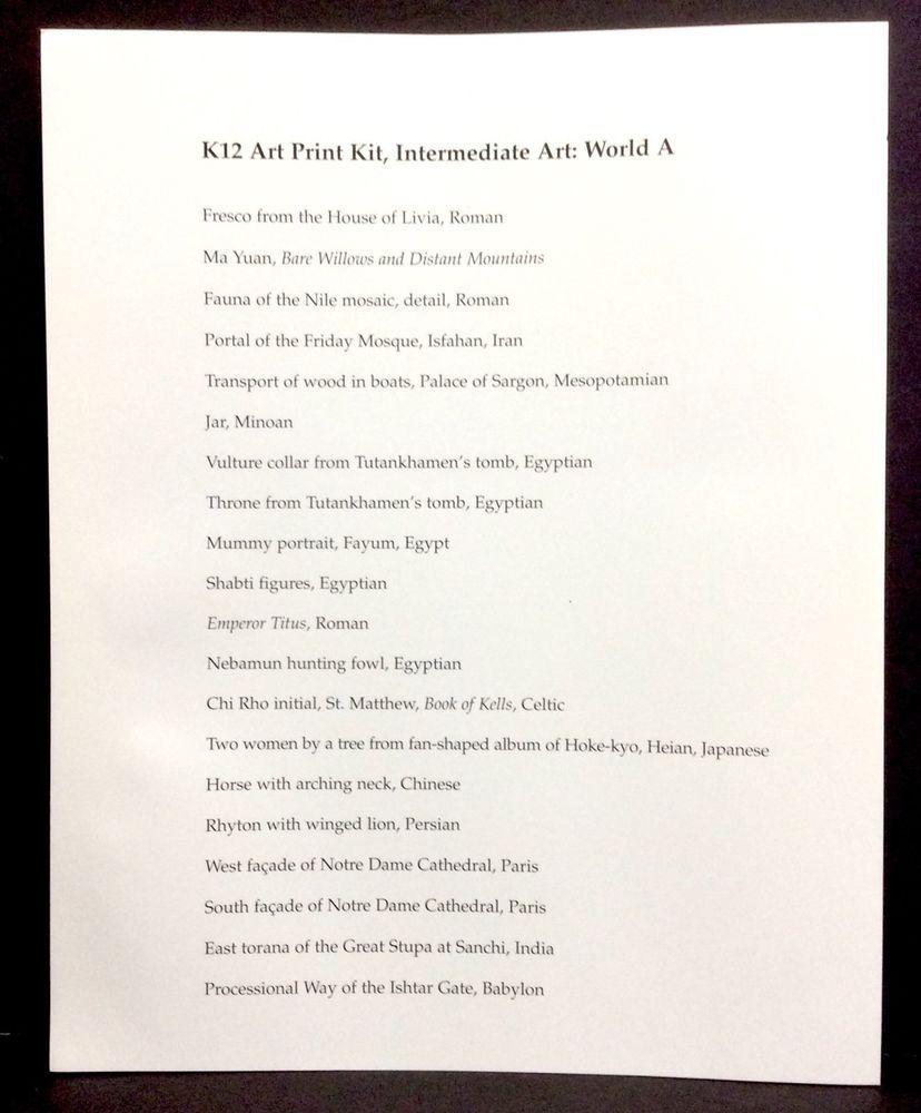 K12 Art Print Kit Intermediate Art World Level A Teacher Resource ...