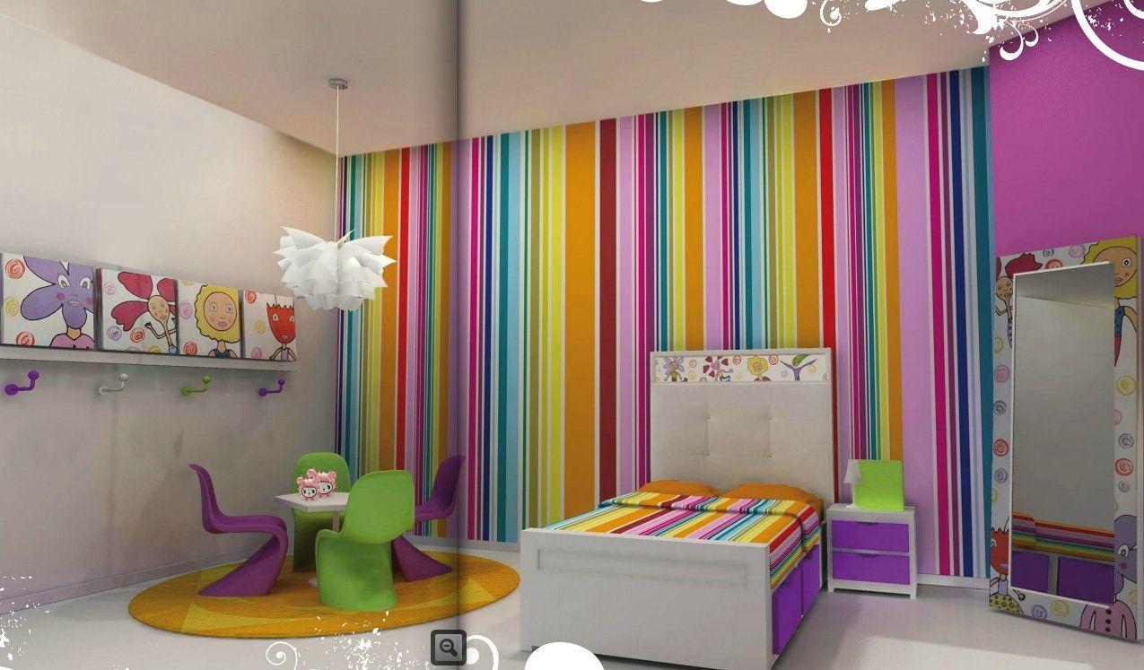 Habitaciones juveniles con papel pintado para m s for Habitaciones juveniles nina