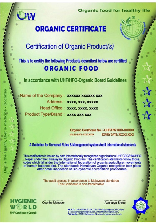 Organic Certificate Organic Recipes Healthy Life Body