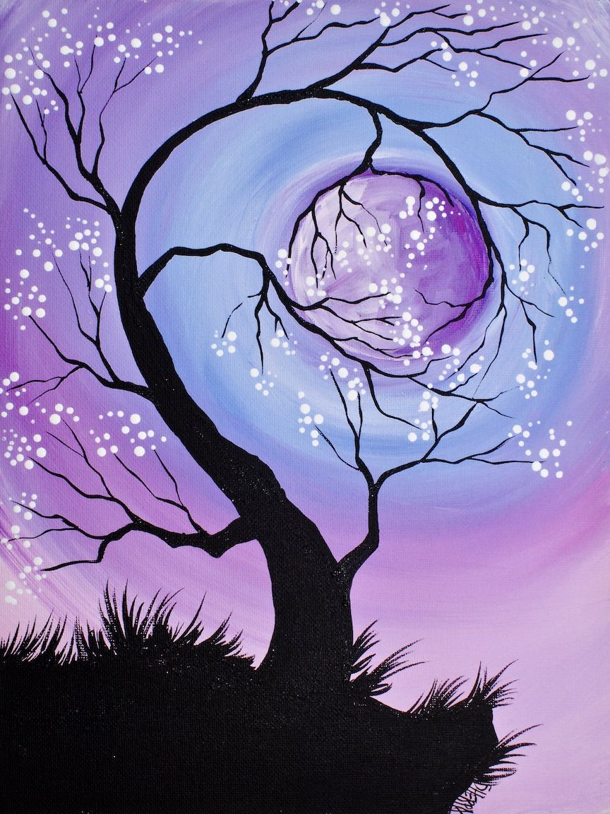 Learn to paint a tree holding a moon at night with simple for Learn to paint with acrylics