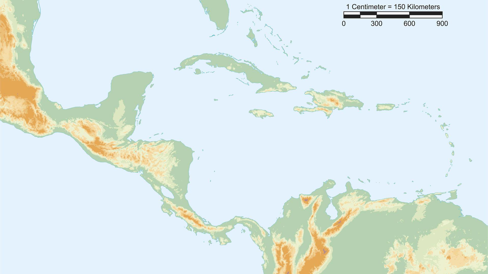 Mapa fsico de Centroamrica con escala  Mapas del mundo