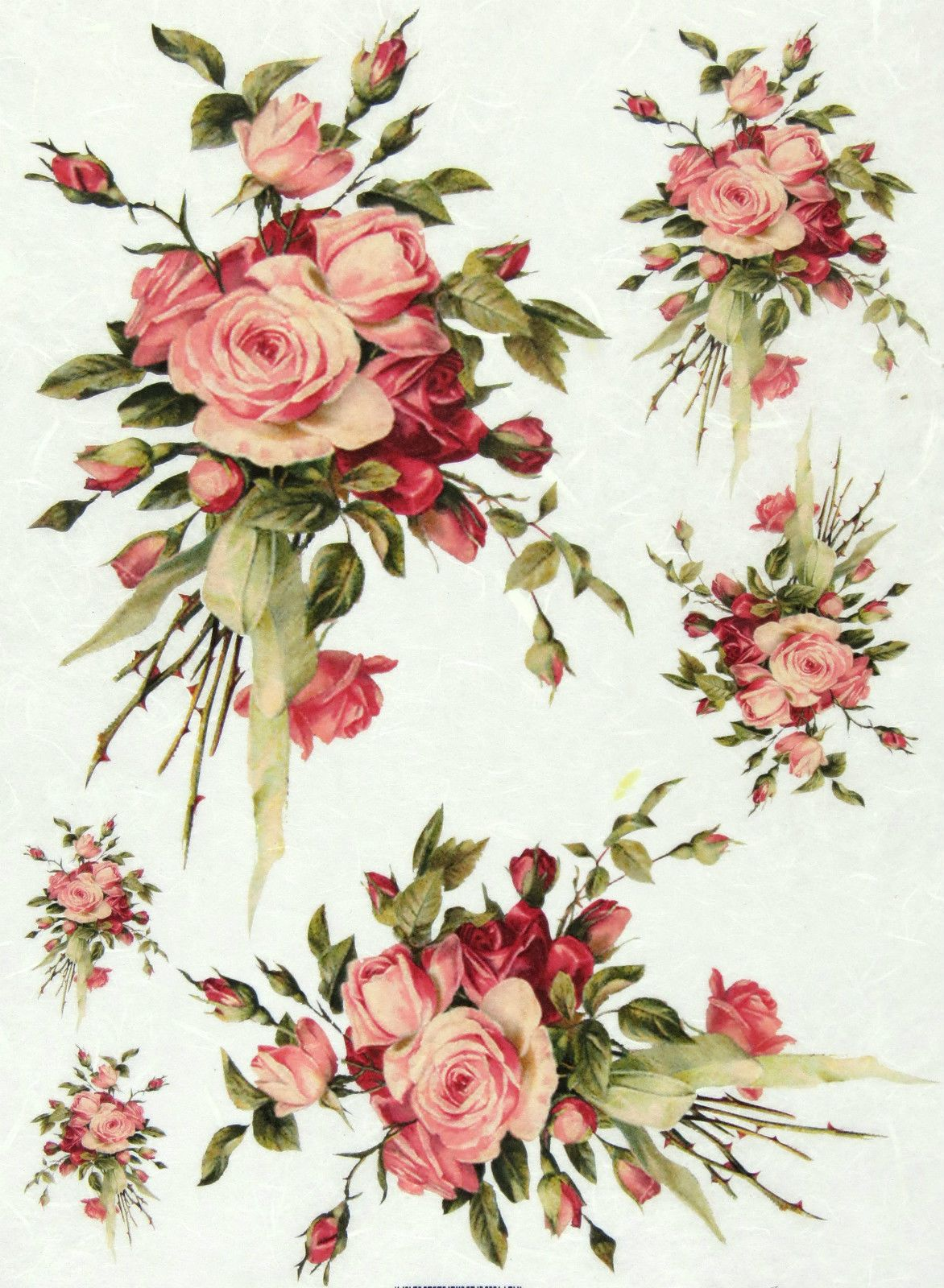 Rice paper for decoupage scrapbooking sheet vintage rose bouquet ricepaperdecoupage paperscrapbooking sheets craft paper vintage rose bouquet mightylinksfo