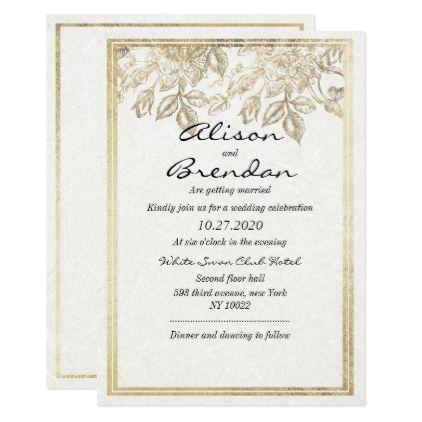 Classy Elegant Ivory Glam Faux Gold Floral Wedding Card - #elegant