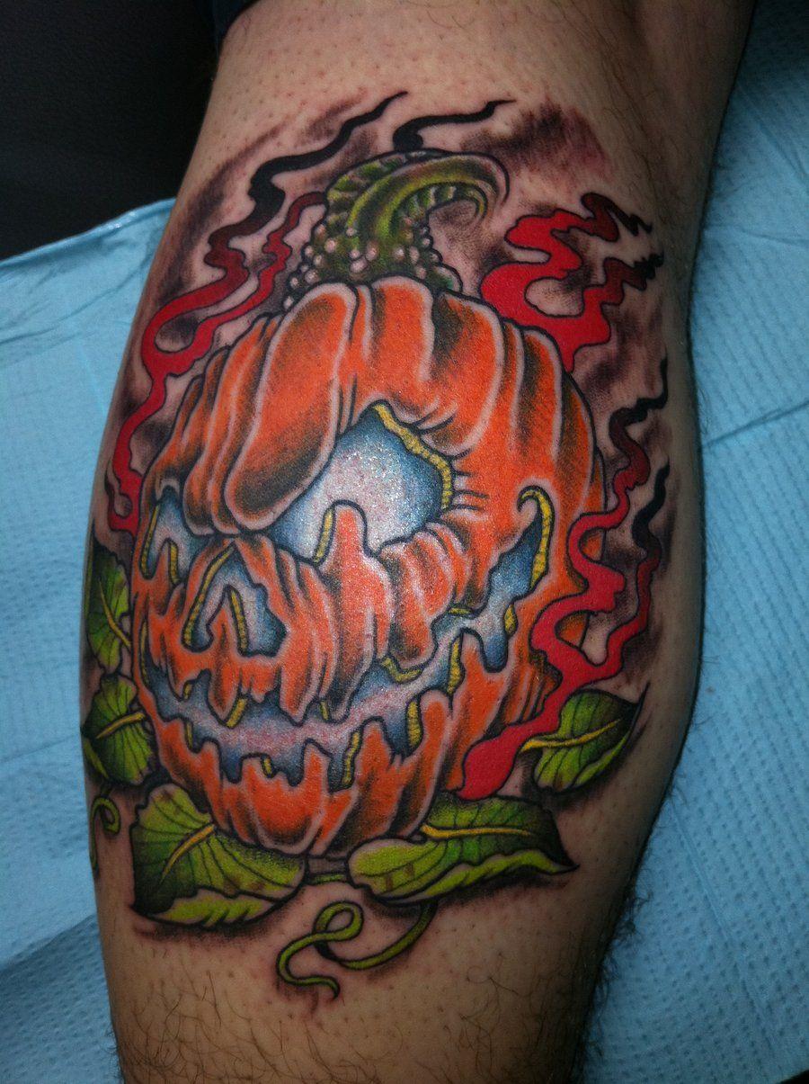 Halloween Tattoo Design Evil Pumpkin Tattoo By Tattoo Work